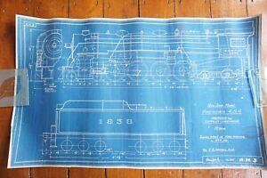1930s American Hudson USA Locomotive Loco Blue Print Technical Drawings x4 Ref 1