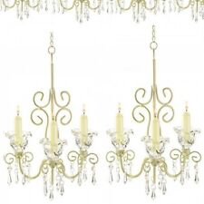 Lot 6 Shabby Chandelier Ivory Candle Holder Wedding Hanging Decor