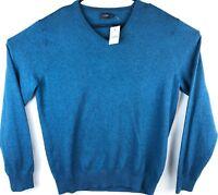 NWT J Crew Sweater Men's Size L Blue V Neck Pullover L/S Cotton Nylon Wool