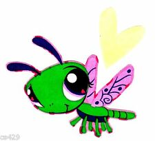 "4"" LITTLEST PET SHOP DRAGONFLY HEART CHARACTER  FABRIC APPLIQUE  IRON ON"
