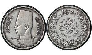 5 Qirsh 1937 Kingdom of Egypt 🇪🇬 Silver Coin // King Farouk  # 366