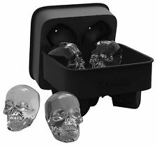 DineAsia 3D Skull Flexible Silicone Ice Cube Mold Tray, Makes Four Giant Skulls,