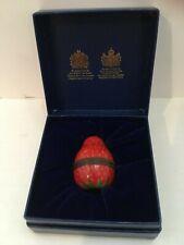 Vintage Halcyon Days Enamel Strawberry Fruit Shaped Bonbonniere Trinket Pill Box