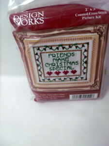 Design Works Friends Make Christmas MINI w Frame Counted Cross Stitch Kit