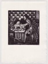 ex-libris erotique Patricia Nik Dad gravure sur cuivre erotic bookplate curiosa