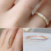 Women Charm Crystal Thin Rings Wedding Engagement Jewelry Ring Band Size 5-10