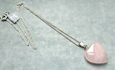 "Pretty Rose Quartz Heart Pendant Necklace 18"" Sterling Silver Chain & Gift Bag"
