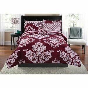 Mainstays Classic Noir 8 Piece Bed in a Bag Bedding Comforter Set with BONUS She
