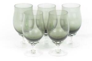 Lot of 6 Sasaki Hawthorne Smoke Crystal Juice Glasses