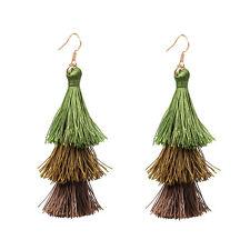 Vintage Retro Bohemian Three Color Tassel Boho Women Hook Dangle Earrings Gift