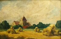 Vintage 1943 Oil Painting Plain Air Unidentified Signed