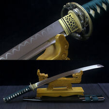 Real Hamon JAPANESE SAMURAI SWORD Clay Tempered Blade Full Tang WAKIZASHI Sharp