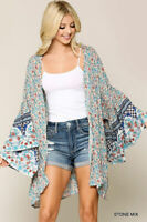 GIGIO By UMGEE Floral Print Open Front Wide Sleeve Kimono Size Medium NWT
