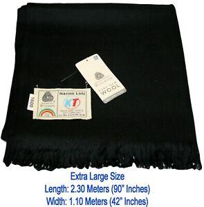100% Pure Natural Marino Wool EXTRA LARGE SIZE Shawl Lohi Meditation Wrap Black