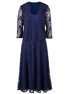 NEW NAVY OCCASIONS OUTFIT LACE DRESS & JACKET BY NIGHTINGALES SIZES 10 12 14