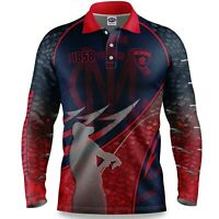 AFL 2020 Long Sleeve Fishing Polo Tee Shirt - Melbourne Demons - Adult Youth