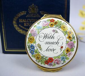 """Vintage Halcyon Days enamel BOX """"Mother's Day 1983 With Much Love"""""""
