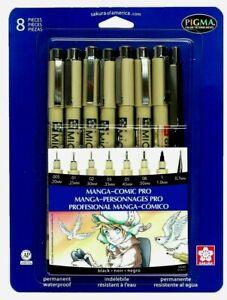 Sakura Pigma Manga-Comic Pro 8-Pack, Micron Black Ink Fineliner Pens w/ Pencil
