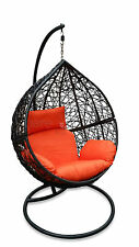 Outdoor Hanging Egg Chair - Black Basket with Orange Cushions