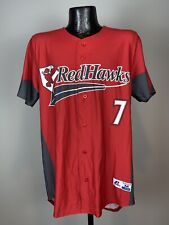Men's MILB Russell Athletic Fargo-Moorhead Redhawks Red Black Baseball Jersey #7