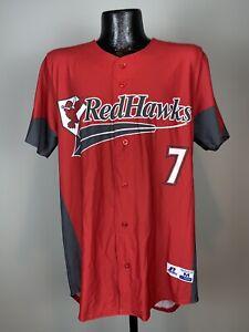 Men's MILB Russell Athletic Fargo-Moorhead Redhawks Red Black Baseball Jersey #7