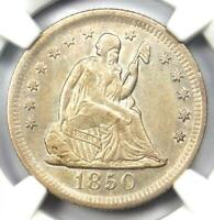 "1850-O Seated Liberty Quarter 25C - NGC AU Details - Rare Date ""O"" Mint Coin!"