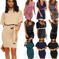 Damen Business Sommer Bodycon Kurze Shirtkleid Unifarben Party Rundhals Kleider
