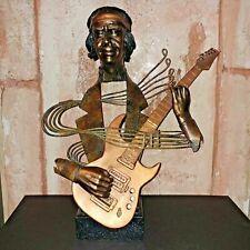 """Guitar Player Modern Art Sculpture Mu Metal Brass Marble Wire Mixed 22"""" tall"""