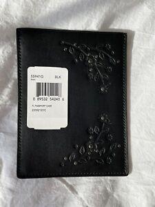 COACH Passport Cover Or Case Black Tea Rose Glovetanned Leather Bag Purse Travel