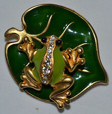 SUPER CUTE RETRO MECHANICAL FROG ON LILY PAD ENAMEL, RHINESTONE PIN, BROOCH