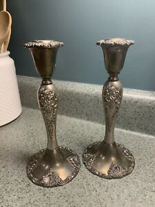 """GODINGER SILVER PLATED CANDLESTICK HOLDERS BAROQUE STYLE 8.5"""" TALL - 2 TOTAL"""