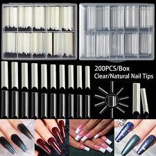 200~400Pcs Xxl C Curve Nail Tips Coffin Half Cover Extra Long Square Fake Nails