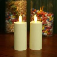 "2Pcs Luminara Flameless Moving Flame Votive Candles 1.58x4.14""  Ivory Unscented"