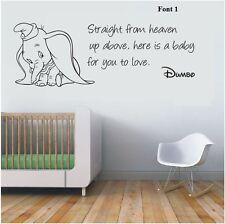 wall stickers DUMBO THE ELEPHANT Straight From Heaven vinyl decal decor Nursery