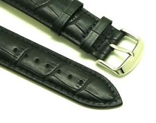 22mm Black Leather Croco Watch Band for Samsung Galaxy Gear S3 Classic Frontier