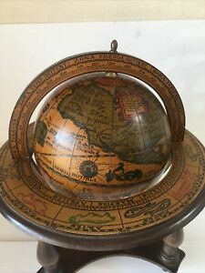 Vintage Wood Olde World Desk Globe with Zodiac Stand - Made in Italy Preowned