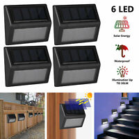 2/4/6pc Solar Powered LED Deck Lights Outdoor Path Garden Stairs Step Fence Lamp
