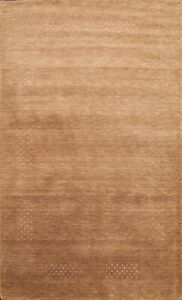 Black Friday Deal Modern Bordered Gabbeh Oriental Area Rug Hand-knotted Wool 6x8