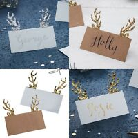 GLITTER ANTLER PLACE NAME CARDS x10 - Luxury Christmas Dinner Table Accessories
