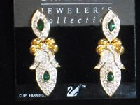 Swarovski Dangle Clip Earrings Emerald Stones/Pave Crystals/Gold Bow Signed New!