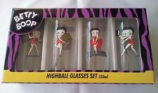 BETTY BOOP HIGHBALL GLASSES BOXED SET OF 4 - GENUINE LICENSED PRODUCT