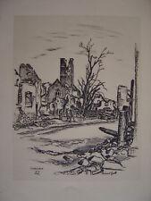 SIGOLSHEIM en ruines  Superbe dessin de Robert Gall en 1945