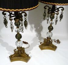HOLLYWOOD REGENCY FACETED CRYSTAL ELABORATE  TABLE LAMPS LIGHTS    A PAIR
