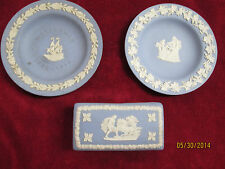 Vintage Lot of Wedgwood Blue Jasperware 2 Small Plates 1 Lidded Box 3 Pieces