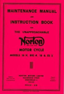 Norton Motorcycle Manual 16H Side Valve, Big 4 18, ES2 Overhead Valve Models