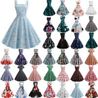 Womens Floral Rockabilly Evening Party Pinup Swing Skater Prom Swing Midi Dress
