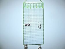 Hanging Earring Holder Neon Green Beads on Clear Smaller