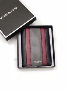 NWT Michael Kors Men's Warren Passport Holder Wallet Leather Patchwork Black 128