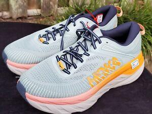 Hoka One 1110519/BHBI BONDI 7 Blue Hazel Black Iris Running Shoes Women Sz 11