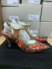 Dries Van Noten Women's Heel Floral Red Gold Sizes 37, 37.5, 38, 38.5, 39, 39.5